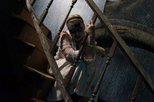 Scarey girl on staircase